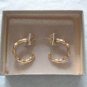 Golden Bamboo Pierced Earrings